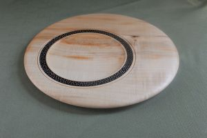 Off center epoxy inlay platter